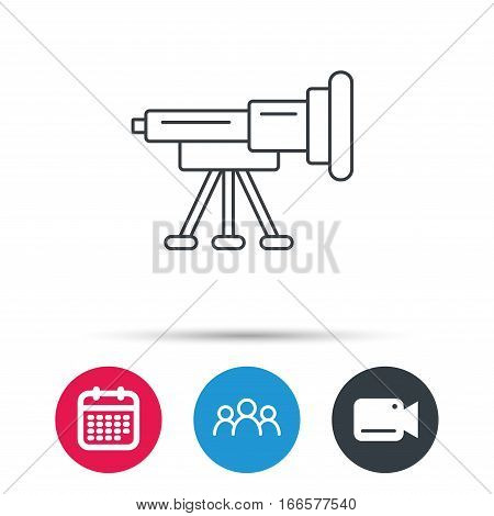 Telescope icon. Spyglass sign. Astronomy magnify lens symbol. Group of people, video cam and calendar icons. Vector