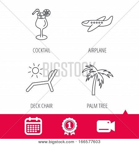Achievement and video cam signs. Airplane, deck chair and cocktail icons. Palm tree linear sign. Calendar icon. Vector