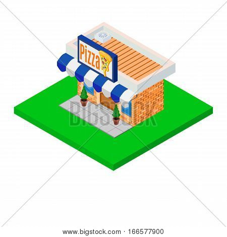 pizzeria isometric bright modernist icon colorful house