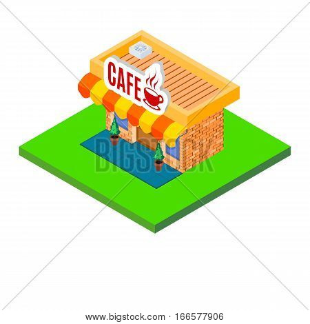 bright little cafe icon Isometric colorful house