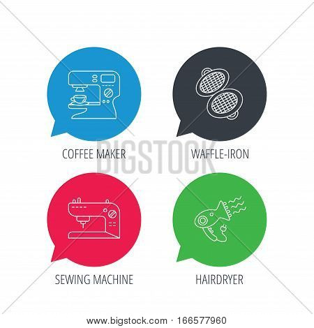 Colored speech bubbles. Coffee maker, sewing machine and hairdryer icons. Waffle-iron linear sign. Flat web buttons with linear icons. Vector