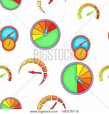 Types of speedometers pattern. Cartoon illustration of types of speedometers vector pattern for web