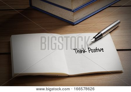 Think Positive Word On Book