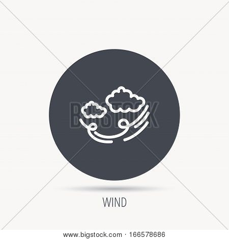 Wind icon. Cloud with storm sign. Strong wind or tempest symbol. Round web button with flat icon. Vector