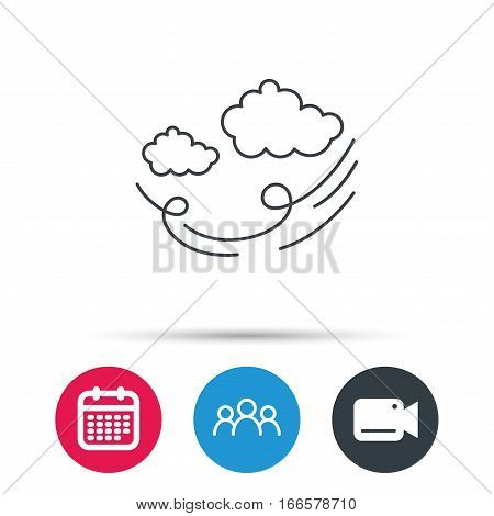 Wind icon. Cloud with storm sign. Strong wind or tempest symbol. Group of people, video cam and calendar icons. Vector