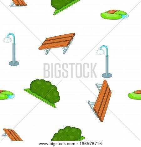 Park equipment pattern. Cartoon illustration of park equipment vector pattern for web