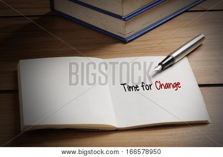 Time For Change Word On Book