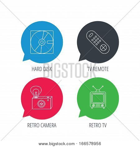 Colored speech bubbles. Hard disk, retro camera and TV remote icons. Vintage TV linear sign. Flat web buttons with linear icons. Vector