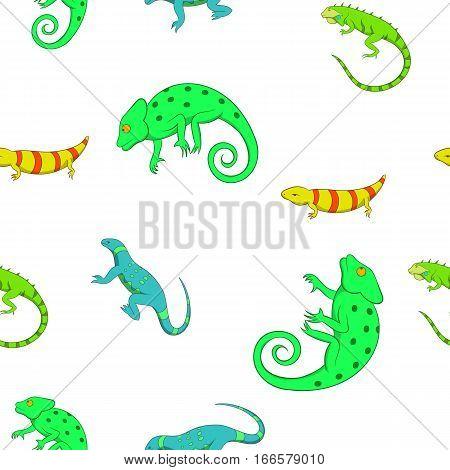 Lizard pattern. Cartoon illustration of lizard vector pattern for web