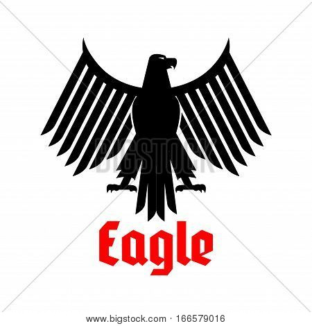 Black eagle heraldic or crest emblem. Gothic or imperial falcon or hawk symbol. Vector isolated icon of sign of phoenix with open spread wings and sharp clutches. Predatory bird heraldry symbol for army or military shield, security badge