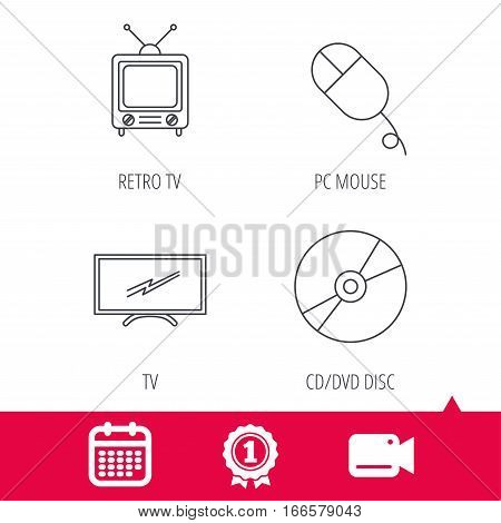 Achievement and video cam signs. Retro TV, PC mouse and DVD disc icons. Widescreen TV linear sign. Calendar icon. Vector