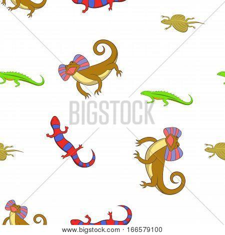 Chameleon pattern. Cartoon illustration of chameleon vector pattern for web