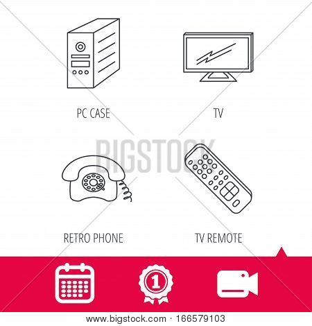 Achievement and video cam signs. TV remote, retro phone and TV remote icons. Widescreen TV linear sign. Calendar icon. Vector