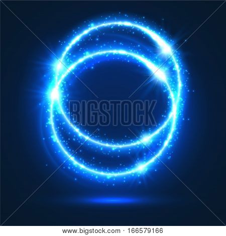 Light flashes and lights sparkles. Shiny abstract circles with neon luminous particles effect. Shining blue rings of glittering sparks. Magic glowing circular star rays and beams of glitter