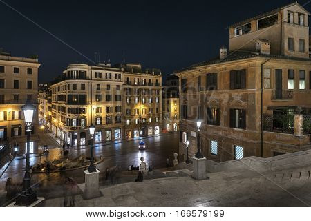 Spanish Steps and Square of Spain (Piazza di Spagna) in Rome Italy