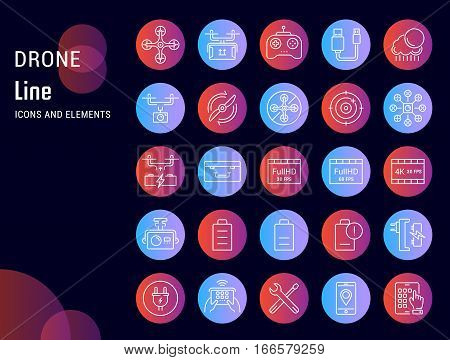 Set vector line icons with open path drones and flying gadgets with elements for mobile concepts and web apps. Collection modern infographic logo and pictogram