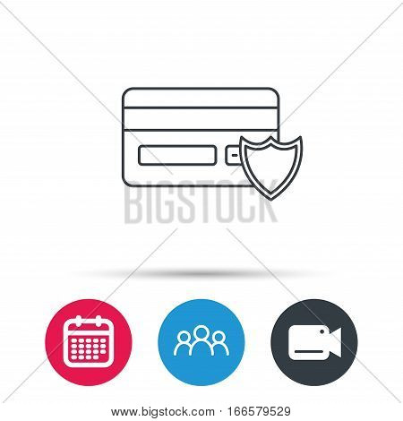 Protection credit card icon. Shopping sign. Group of people, video cam and calendar icons. Vector
