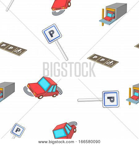Parking area pattern. Cartoon illustration of parking area vector pattern for web