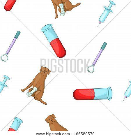 Veterinary things pattern. Cartoon illustration of veterinary things vector pattern for web