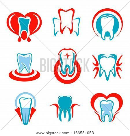 Dentistry emblems set of tooth icons. Vector isolated teeth symbols for dentist or stomatologist clinic, dental office. Signs of healthy tooth and gum with heart for stomatology and odontology, tooth paste design