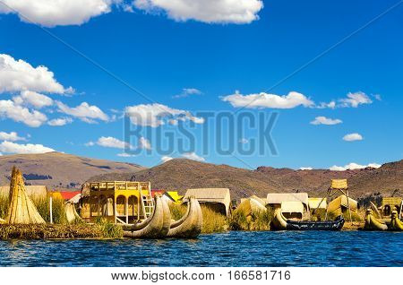 View of the Uros Floating Islands floating on Lake Titicaca in Peru