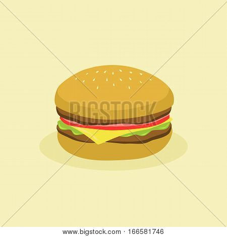 Fast Food Hamburger. Vector illustration of a burger with meat, tomato, cheese, and lettuce in cream background.