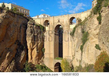 The New Bridge (Puente Nuevo) over the gorge in Ronda, Andalucia, Spain