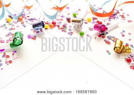 concept birthday party on white background top view pattern mock up