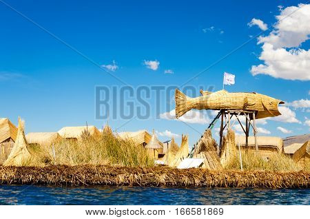 Large fish made of reeds on the manmade Uros Floating Islands on Lake Titicaca in Peru