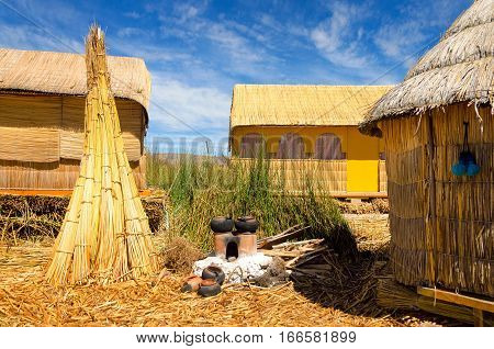 Houses on one of the Uros Floating Islands on Lake Titicaca in Peru