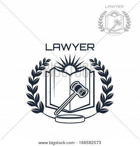 Lawyer or advocate emblem of judge gavel, open book, heraldic laurel wreath and sun. Vector isolated icon for law attorney or advocacy assistant office or juridical counsel or legal notary company