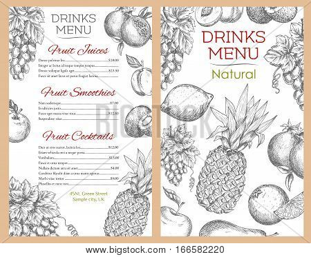 Drink menu for fruit drinks and juices, fruits smoothie and cocktails of natural healthy organic farm fruits apple, apricot and pear, tropical pineapple, orange and kiwi, citrus lemon with grape bunch and juicy pomegranate. Vector sketch