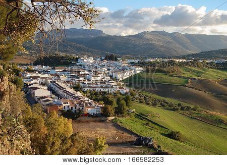 View of the surrounding hills from the old part of Ronda in Andalucia, Spain
