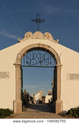 View of the Ourem Cemetery Gate Beiras region Portugal