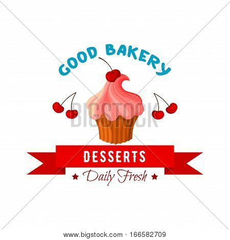 Pastry cake dessert emblem. Bakery shop or patisserie cupcake icon. Vector sweet tart or biscuit muffin with whipped cream and fruity topping of cherry berry. Badge with ribbon for confectionery