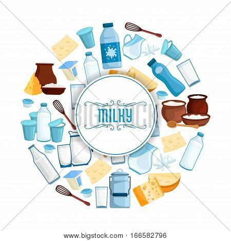 Milky products poster of vector milk and dairy products. Butter, sour cream in jar and milk curd, village and farmer market cheese, yogurt or kefir, cottage cheese and fresh cream, whisk and spoon. Design for milk shop, store or market