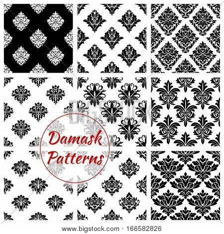 Damask flourish patterns set. Flowery ornate embellishment and luxury floral ornamental tiles and backdrops Baroque or rococo background for interior design. Vector tracery motif adornment