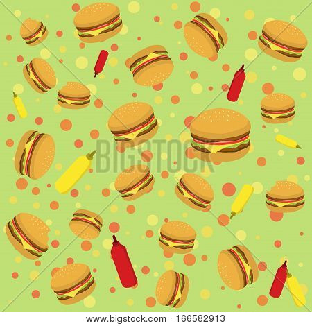 Seamless pattern vector illustration of Burger with tomato sauce and mustard in dotted green background