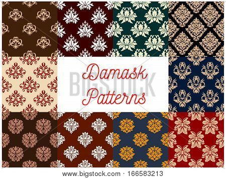 Damask seamless flowery patterns set of floral and flourish ornamental baroque backdrops and embellishment motif. Vector flowers tracery and luxury rococo ornate tiles for interior design poster