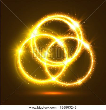 Abstract light rings and sparkling shining circles. Golden magic lights and flashes. Shiny luminous and shimmering glitter particles of circular star rays and beams. Luminous glowing glittering effect