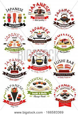 Sushi sashimi and Japanese seafood emblems. Oriental fish and sea food cuisine food vector isolated icons of salmon, tuna, eel and shrimp with steamed rice, noodle seaweed soup and green tea, wasabi and soy sauce, chopsticks for sushi bar menu