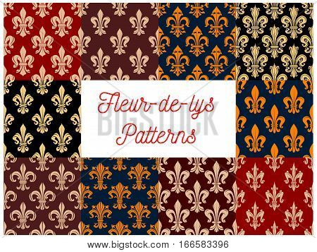 Fleur-de-lis or fleur-de-lys floral pattern. Royal and imperial french lily flower ornate motif background. Heraldic flowery ornament tiles set. Vector flourish ornamental tracery embellishment backdrop or interior design