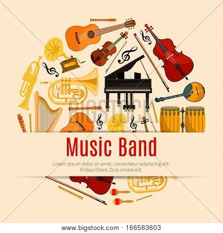 Music Band poster of vector musical instruments and notes. Orchestra harp, contrabass, violin with bow and piano, sax or saxophone and maracas, cymbals on ethnic jembe drums station, jazz trumpet, acoustic guitar, flute pipe and gramophone