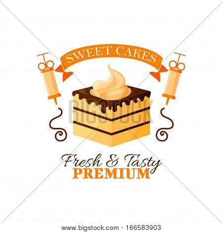 Pastry dessert icon. Patisserie sweet cake emblem. Vector isolated cupcake or tart with whipped cream, chocolate fondant and baker syringe. Badge and ribbon for bakery or confectionery shop