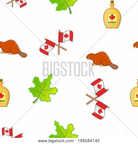 Holiday in Canada pattern. Cartoon illustration of holiday in Canada vector pattern for web