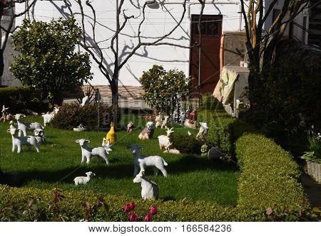 Detail of a garden full of ceramic figures