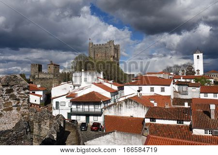 Castle and houses in the fortress of Braganca Tras os MontesPortugal