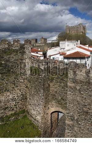 Walls and Castle and houses in the fortress of BragancaTras os MontesPortugal
