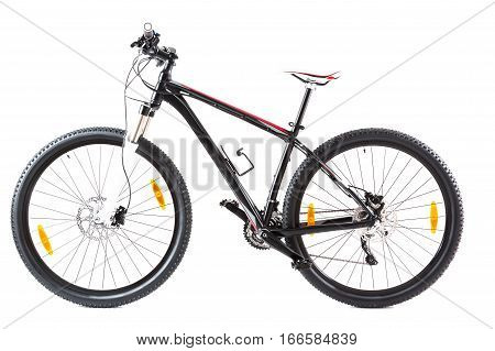 Studio shot of a 29' hardtail mountainbike, isolated on white