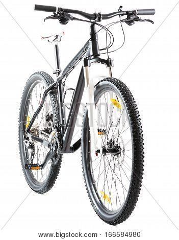 Studio shot of a 29' hardtail mountainbike, isolated on white
